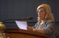 """... It is our ethical obligation to find in these types of academic meetings, ways to build a culture of peace"" said Dr. Hermelinda Alvarenga de Ortega, secretary pro temporé of the ALIUP, in her welcoming speech during the Educational Session of CUMIPAZ."