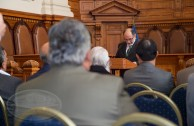 """Judges, parliamentarians, academics and diplomats from various countries visited the building """"Palacio de los Tribunales de Jusitica"""" on November 3rd for the opening of CUMIPAZ 2015, convened by the GEAP."""