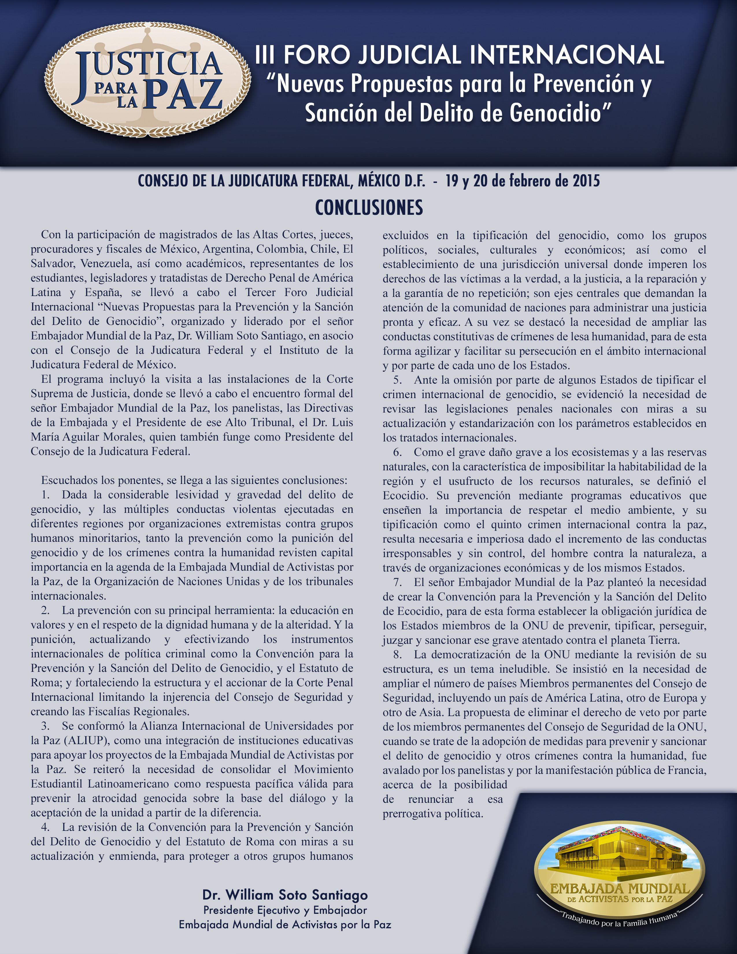 CONCLUSIONES MEXICO III Foro Judicial Internacional