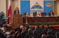 La Directora General de la EMAP, Lic. Gabriela Lara, dio apertura a la Sesión Educativa correspondiente al  segundo día de la Cumbre de Integración por la Paz, CUMIPAZ, efectuada en el ex Congreso de la República, en Santiago de Chile.