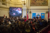 The opening act of CUMIPAZ was chaired by the President of the Supreme Court of Justice of Chile, Dr. Sergio Muñoz Gajardo and Dr. William Soto Santiago, CEO of the Global Embassy of Activists for Peace (GEAP) and President of CUMIPAZ 2015.