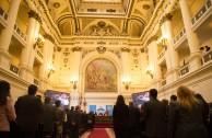 El edificio del ex Congreso de Chile es la sede de la Cumbre de Integración por la Paz que se desarrolla en la ciudad de Santiago.