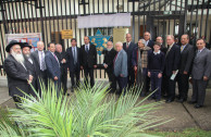 Líderes religiosos, académicos y políticos acompañaron el traslado de la placa.