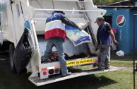 Garbage is transported in garbage trucks.