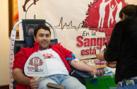 A young person voluntarily donating blood