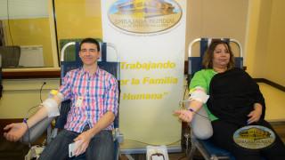 Voluntarios donando sangre